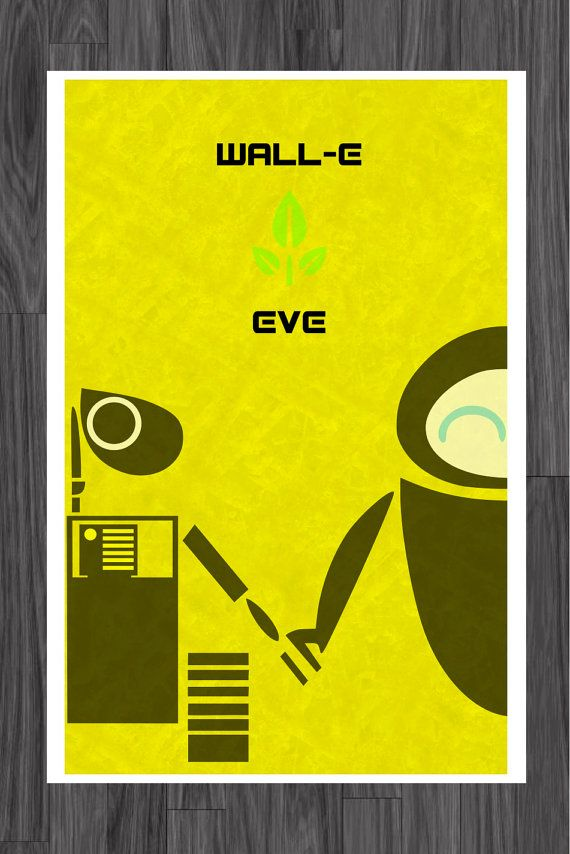 Wall-E and Eve Art Poster love the yellow   Wall-E and Eve ...