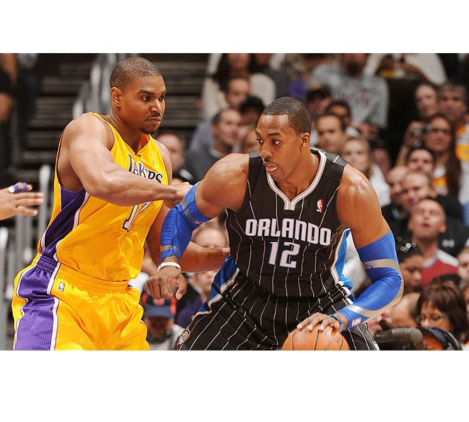 The trade sent Dwight Howard (right) to the Lakers and Andrew Bynum to the 76ers; both have moved on since.