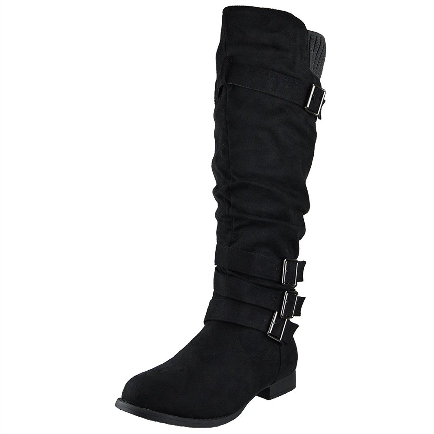 a041be9bac2 Womens Knee High Boots Ruched Four Buckles Suede Knitted Calf Black    You  can find more details here   Knee high boots