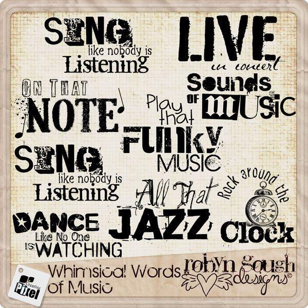 Music Word Art Clipart Digital Scrapbook Word Art Clip Art Card