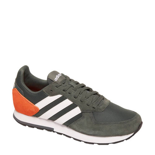 8K leren sneakers zwartoranjewit Adidas, Zwart en Oranje