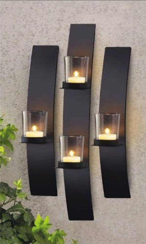 Set 3 modern black metal wall mount tea light candle holder sconce metal modern art wall mount candle votive holder sconce set do it yourself home decoration products aloadofball Choice Image