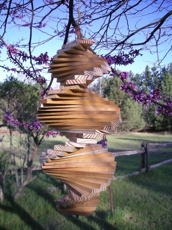 Wooden Helix Spiral Wind Spinner With Images Wind Spinners