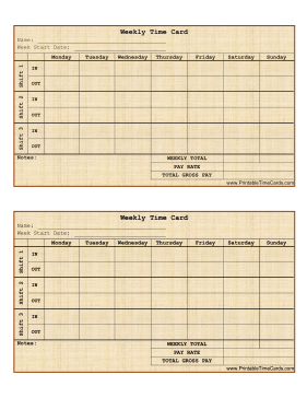 free printable weekly time cards