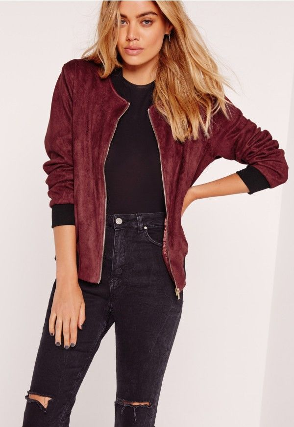 87e4bba93a21 Contrast Rib Faux Suede Bomber Jacket Burgundy - Missguided