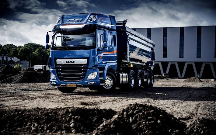 Herunterladen hintergrundbild daf cf, 2017, dump truck, blue truck, daf cf 530 ftt