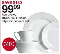 ROSCHER Fusion 34pc dinnerware set from Home Outfitters $99.99 (64% Off) -  sc 1 st  Pinterest & ROSCHER Fusion 34pc dinnerware set from Home Outfitters $99.99 (64 ...