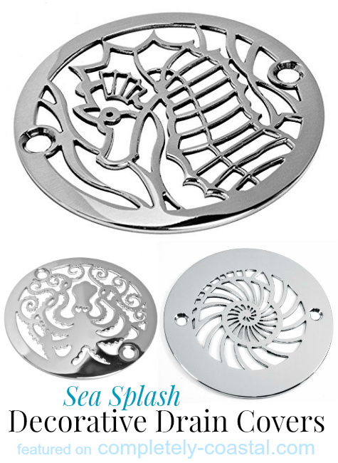Merveilleux Decorative Shower Drain Covers With A Coastal Theme:  Http://www.completely Coastal.com/2015/02/decorative Coastal Drains Sink  Shower.html