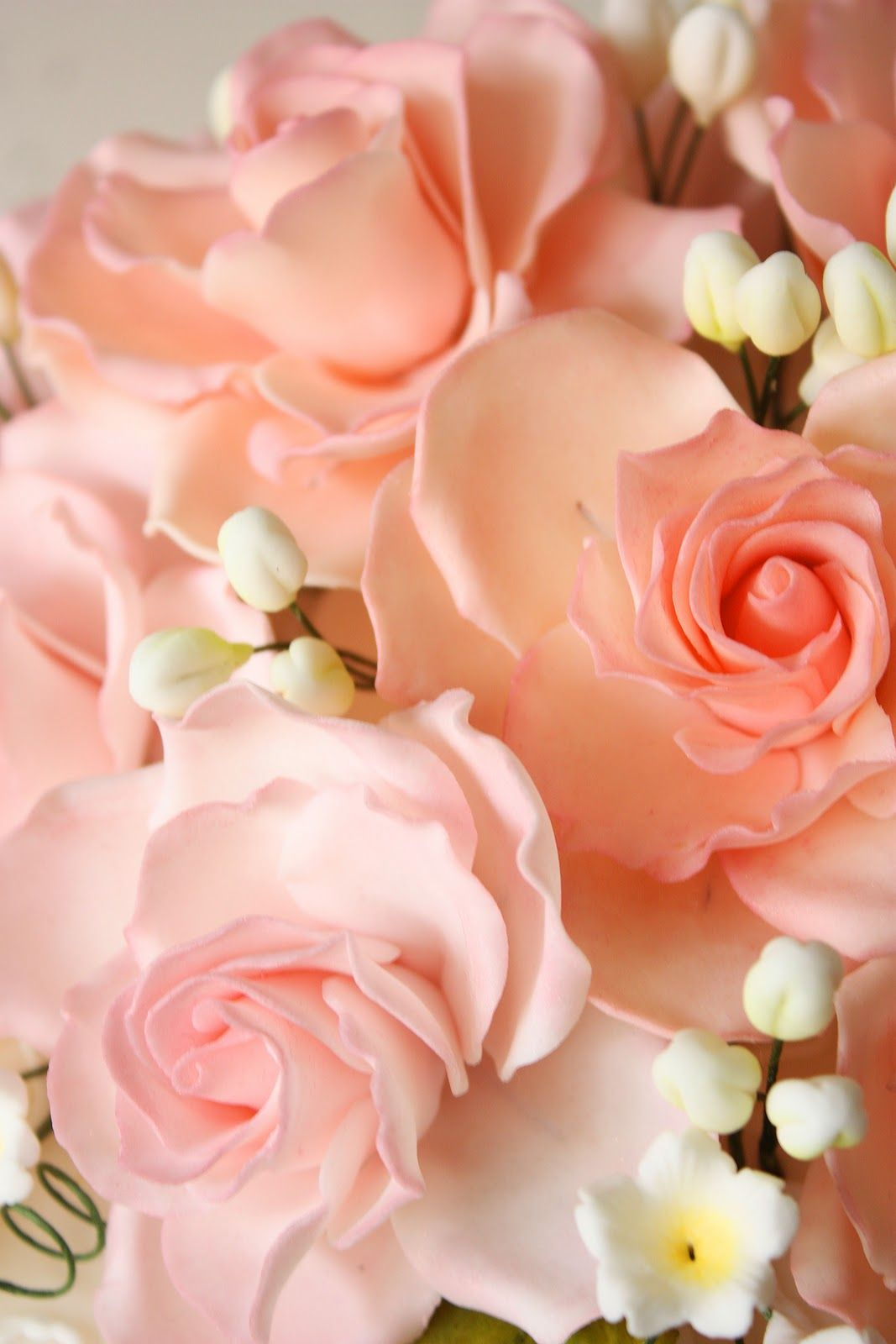 Cherry On A Cake Pink Roses Wedding Cake Coral Peach
