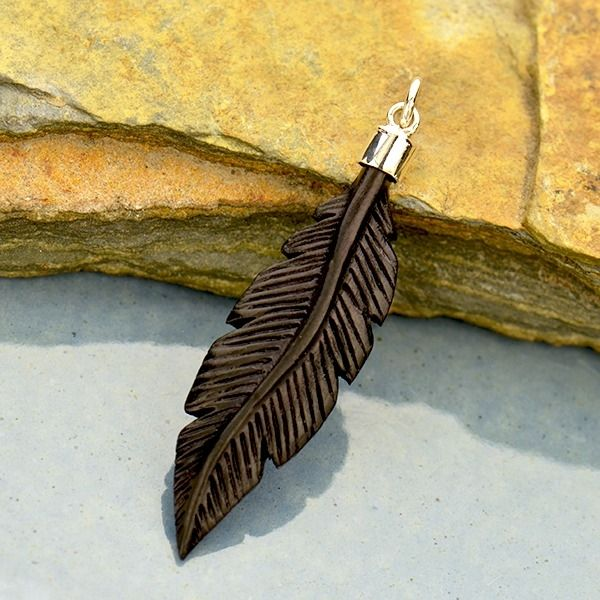 Hand Carved Black Wood Feather Pendant Nina Designs Wood Feather Wood Necklace Wood Necklace Pendant