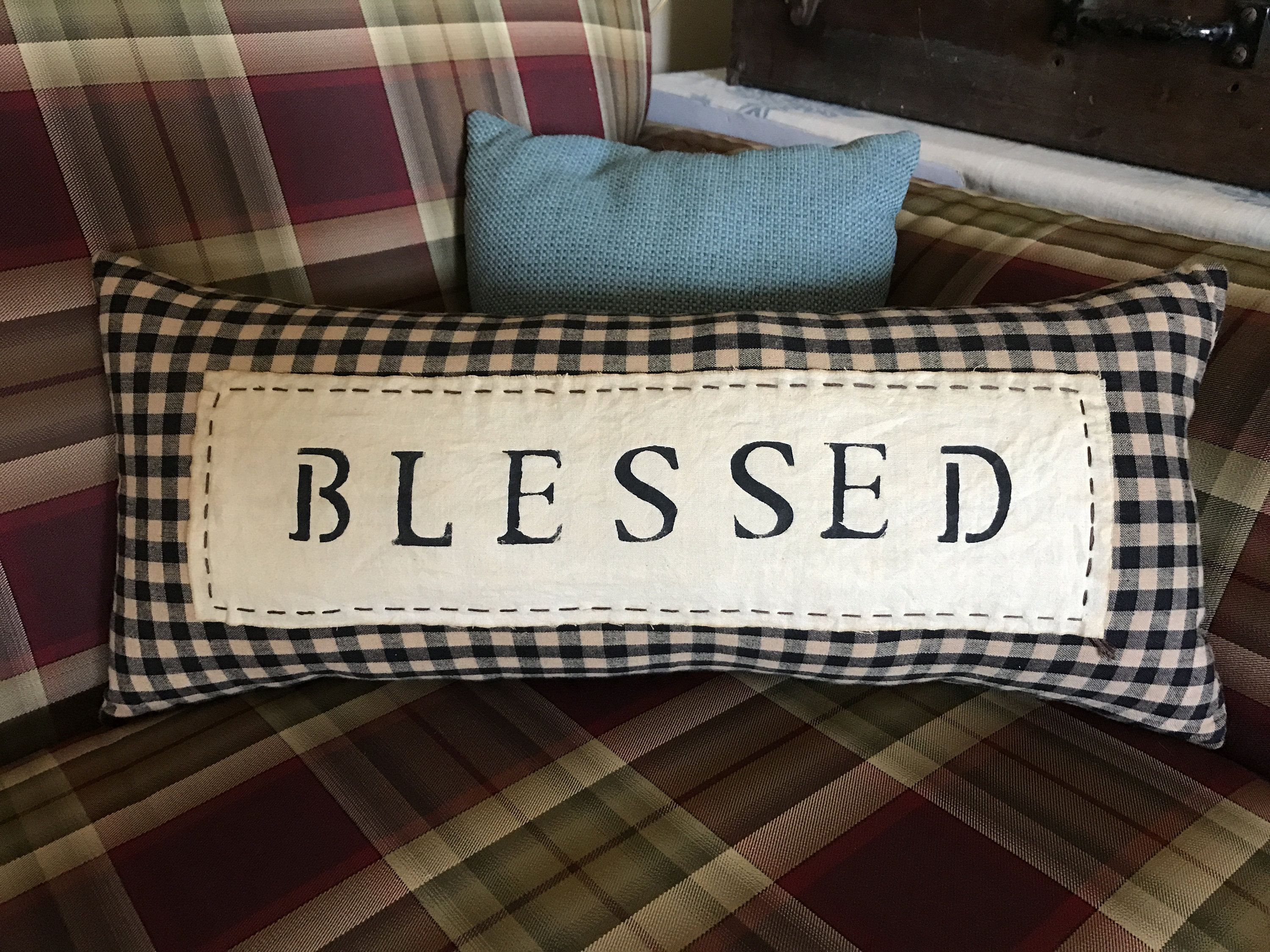 Handmade Black and Tan Check Pillow/Primitive Pillows /Accent Pillow/Decorative Pillows / Blessed pillow/ Farmhouse Style
