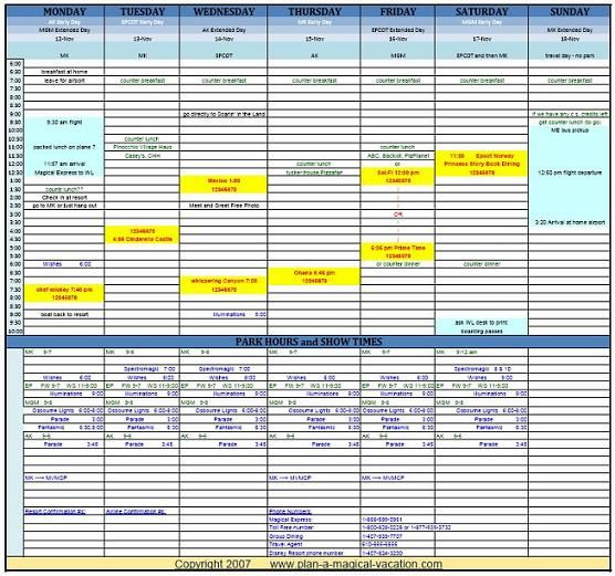 Disney Vacation Planning Spreadsheet  Sample  Disney World