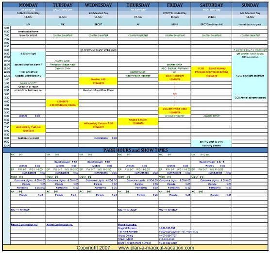 Disney Vacation Planning Spreadsheet  Sample  Disney World