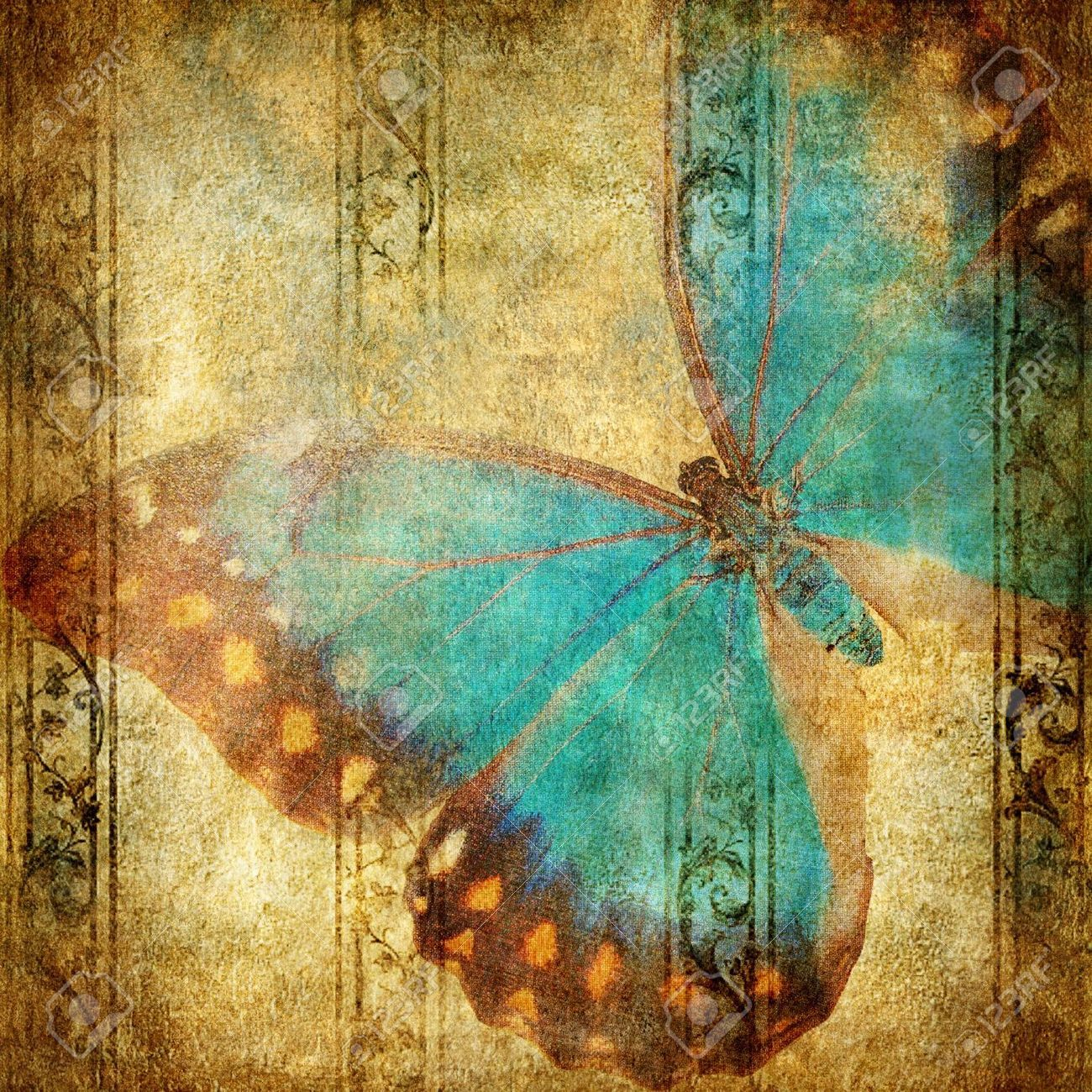 Vintage Background With Butterfly Stock Photo, Picture And Royalty Free Image. Image 5190755.