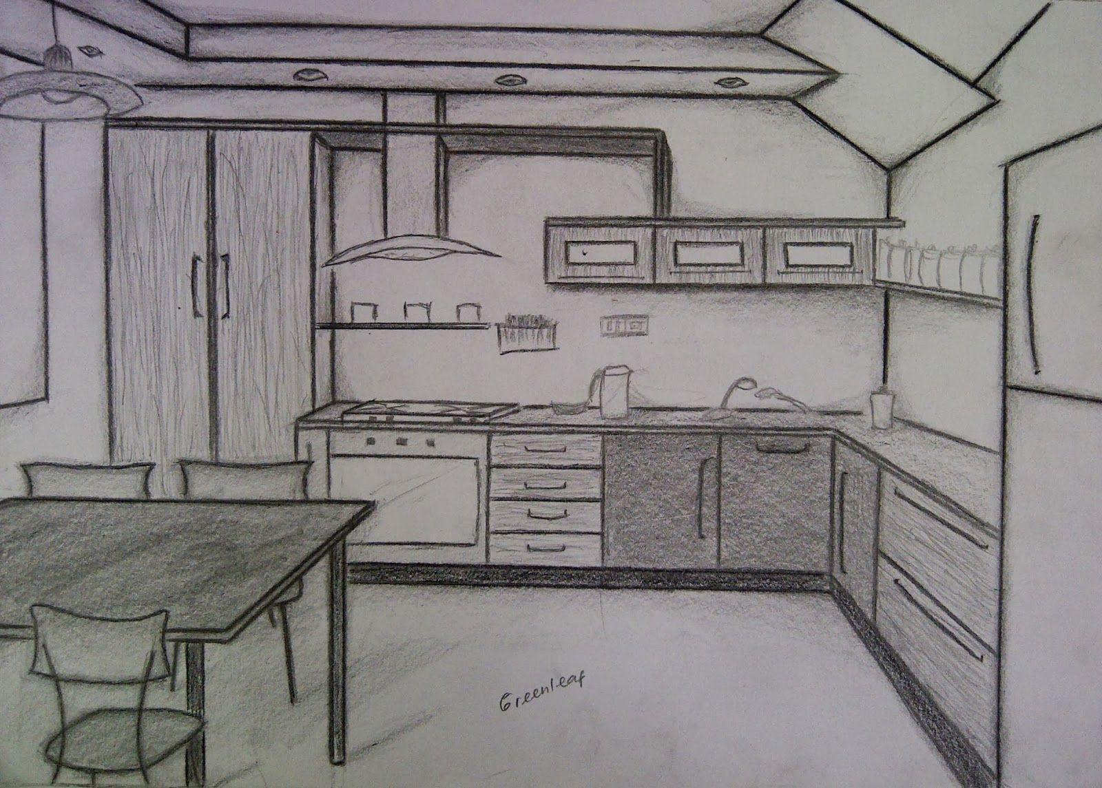 Sketsa Gambar Ruangan Dapur