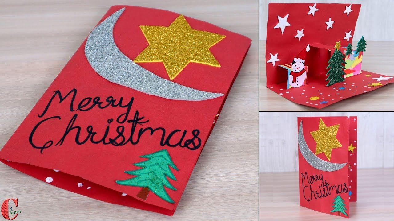 Easy ! DIY 3D Christmas Pop Up Card - How to make ...