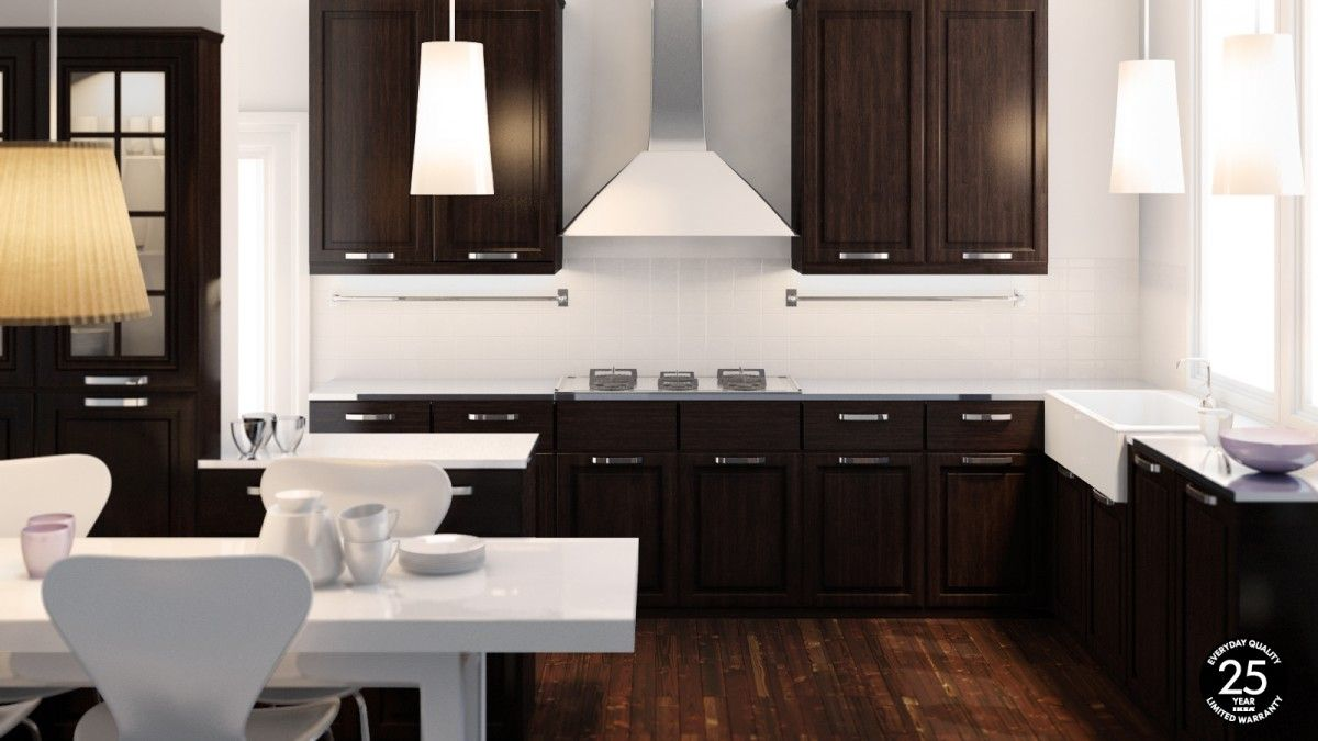 Kitchen, : Modern Ikea Kitchen Design Services Decoration With Mahogany  Kitchen Cabinet Along With Steel Range Kitchen Vent Hood And Mahogany Wood  Kitchen ...