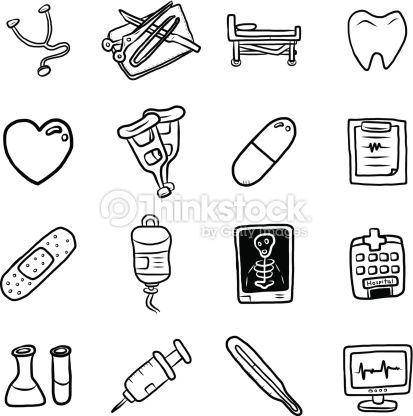 Medical Equipment And Medicine Objects Or Icons Set Cartoon Vector Nurse Drawing Medical Drawings Doctor Drawing