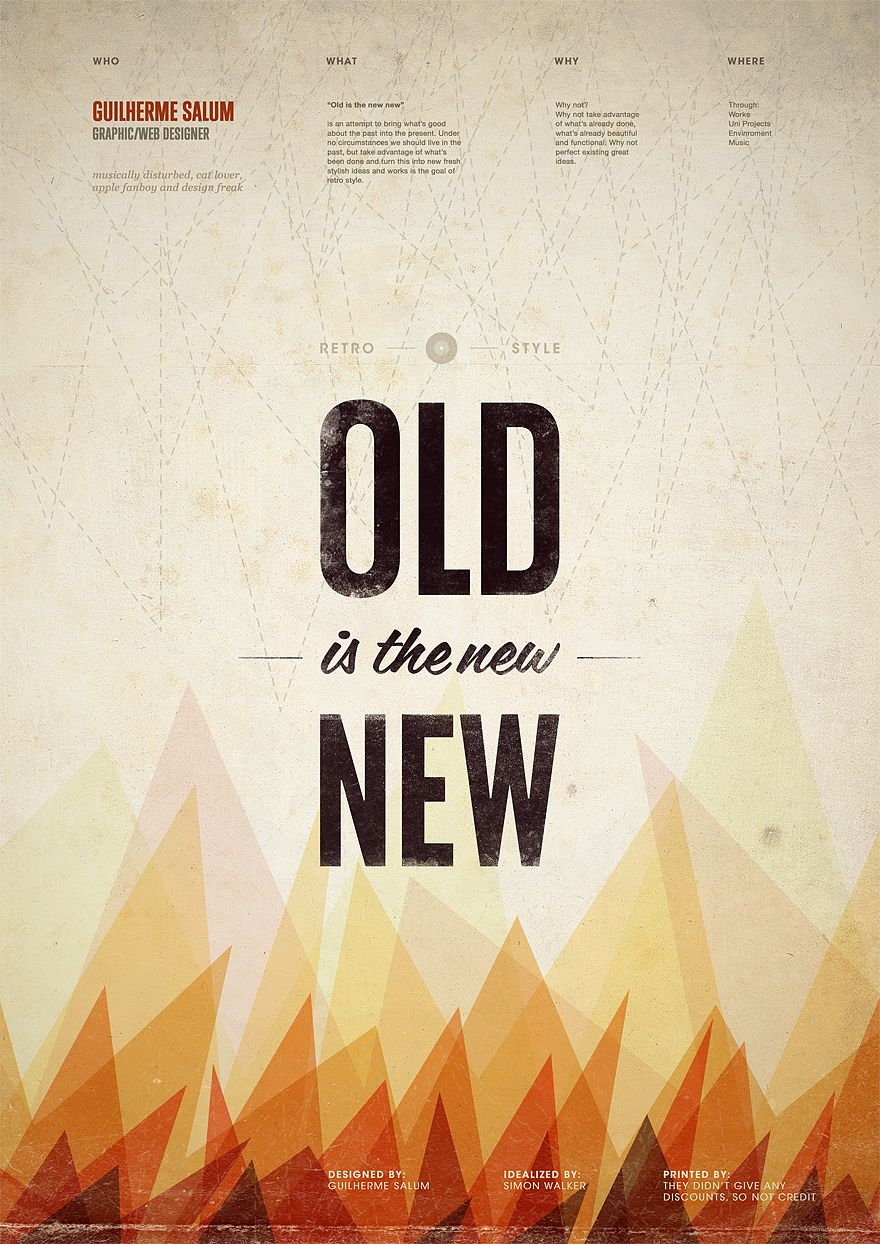 Old Is The New New By Saluum On Deviantart Typography Poster Design Vintage Poster Design Creative Poster Design