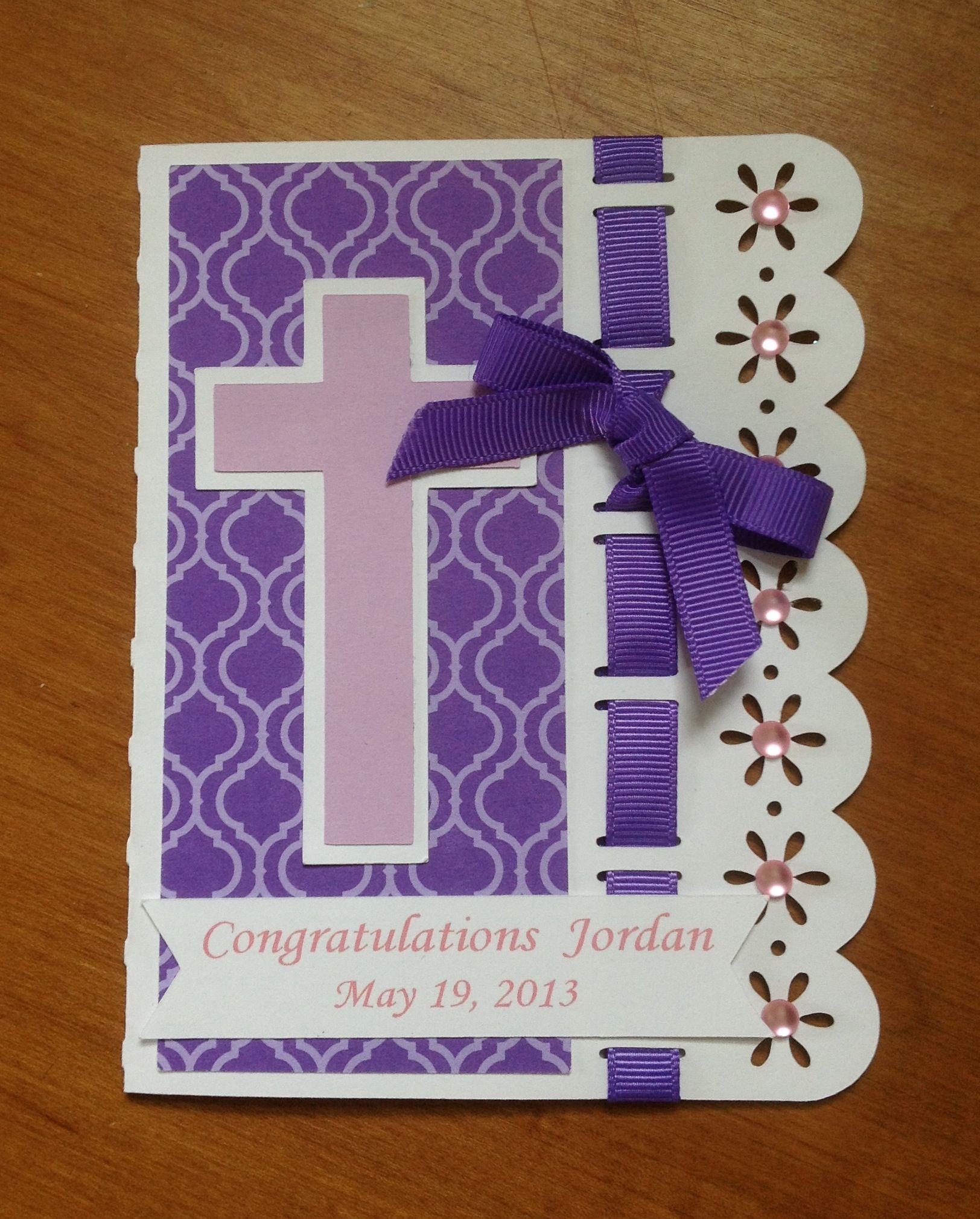Confirmation card for niece. Thanks to Bird for the base