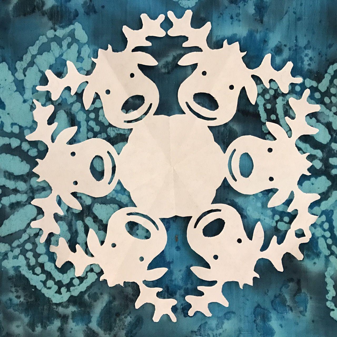snowflake template reindeer  Reindeer Paper Snowflake Pattern! Part of the ...