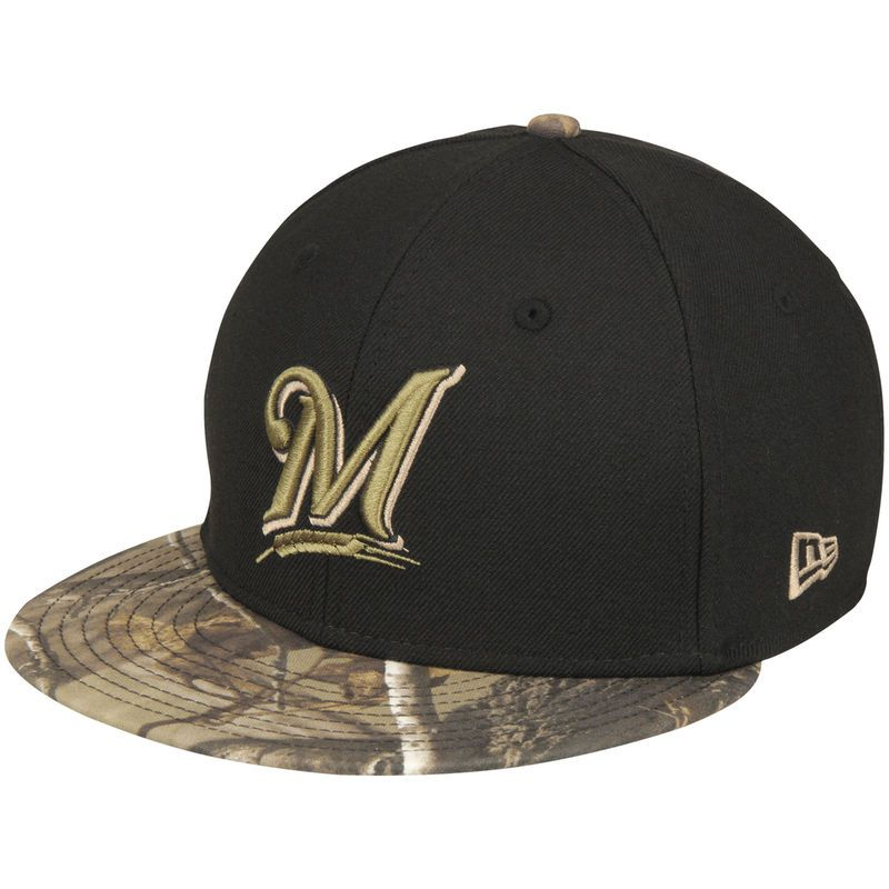 Milwaukee Brewers New Era Realtree 59FIFTY Fitted Hat - Black