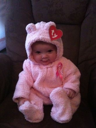 """Hee hee. Beanie Baby costume. Talk about easy, just make a """"Ty"""" tag for your animal coat or sleeper. And P.S. @Emily Schoenfeld Schoenfeld Becker - this totally looks like one of your girls."""