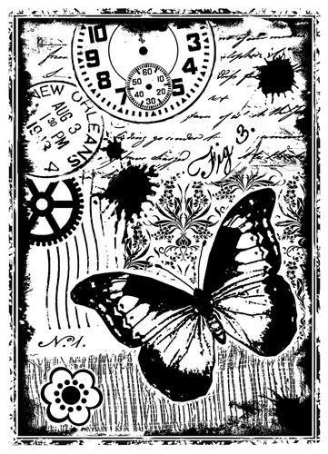 Mixed Media Cogs Craft Stencil Clocks U K Seller Butterfly Scrapbook