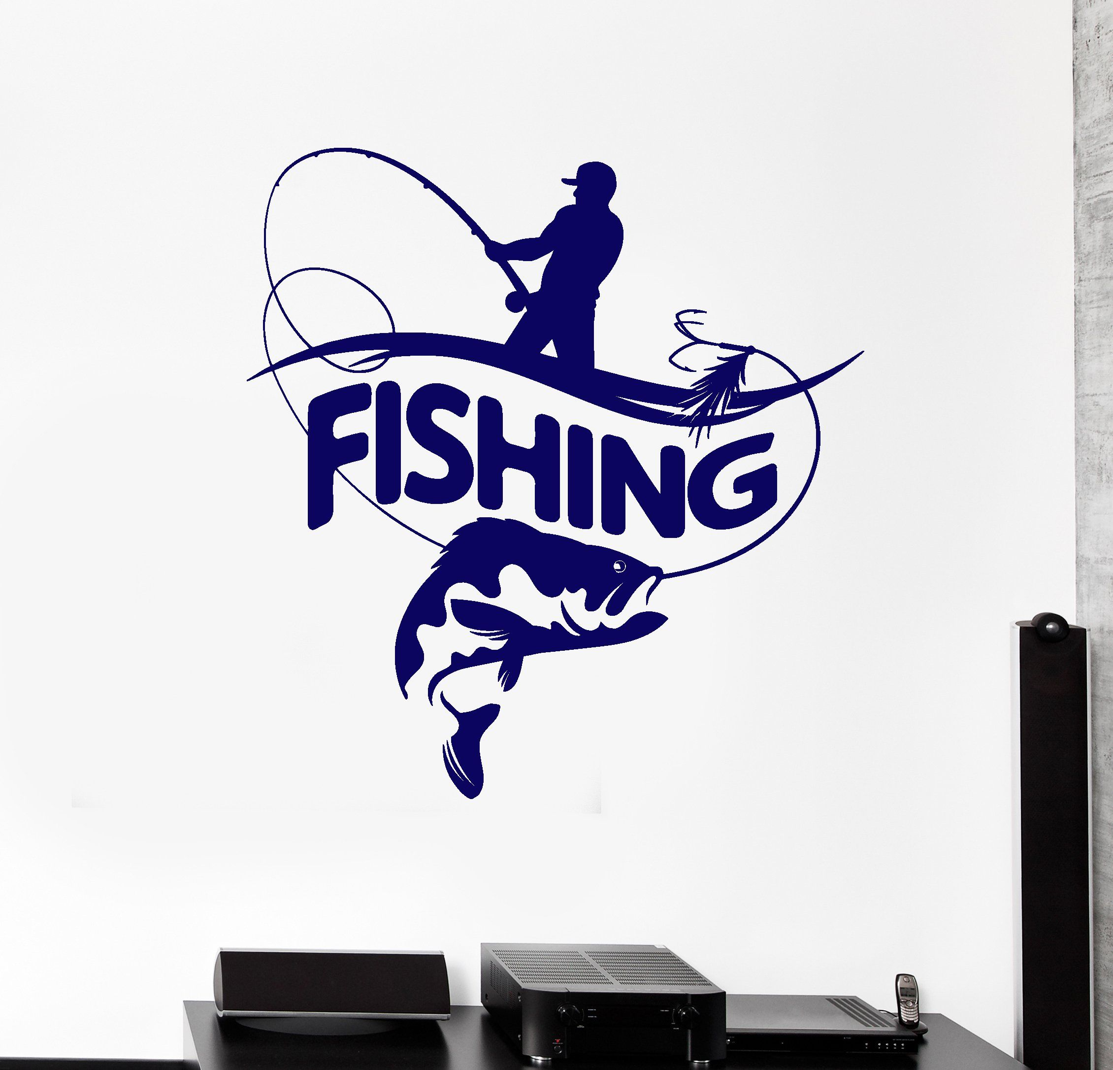 24 Fishing DECALS vinyl STICKER lure reel rod hook tackle box tug canoe boat fly