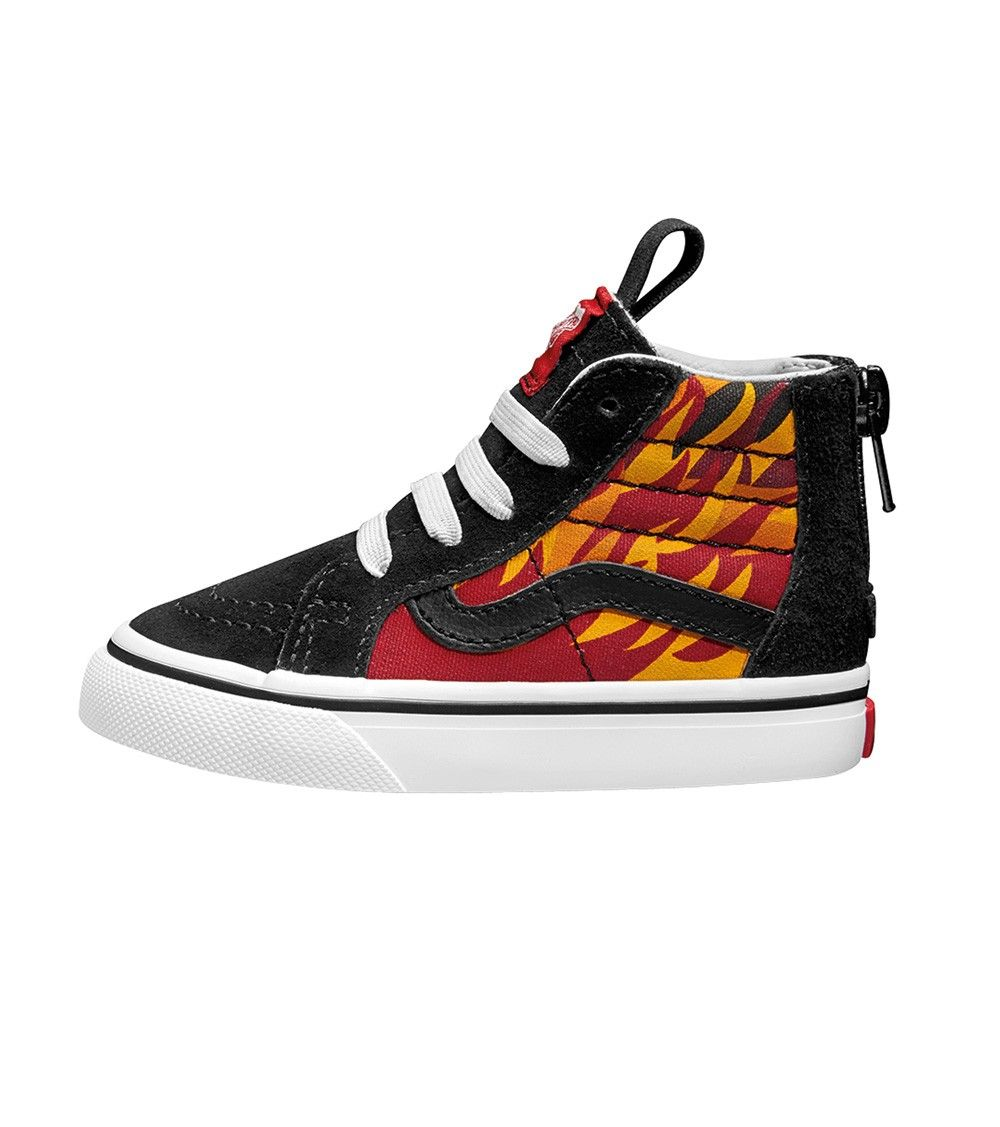 a22dfcacdc6 Vans Sk8 Hi Zip Toddler Flame Black Racing Red