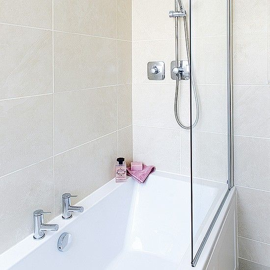 Neutral Tiled Bathroom With Bath And Shower Attachment | Neutral, Neutral  Bathroom And Bath