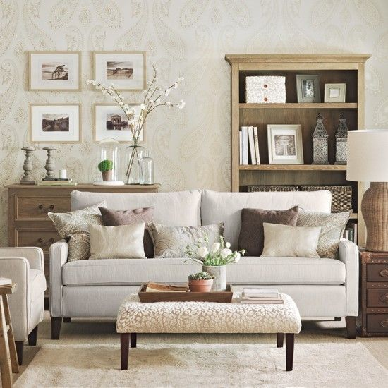 Subtle Paisley Living Room Living Room Decorating Ideas Ideal Home Neutral Living Room Wallpaper Living Room Living Room Designs