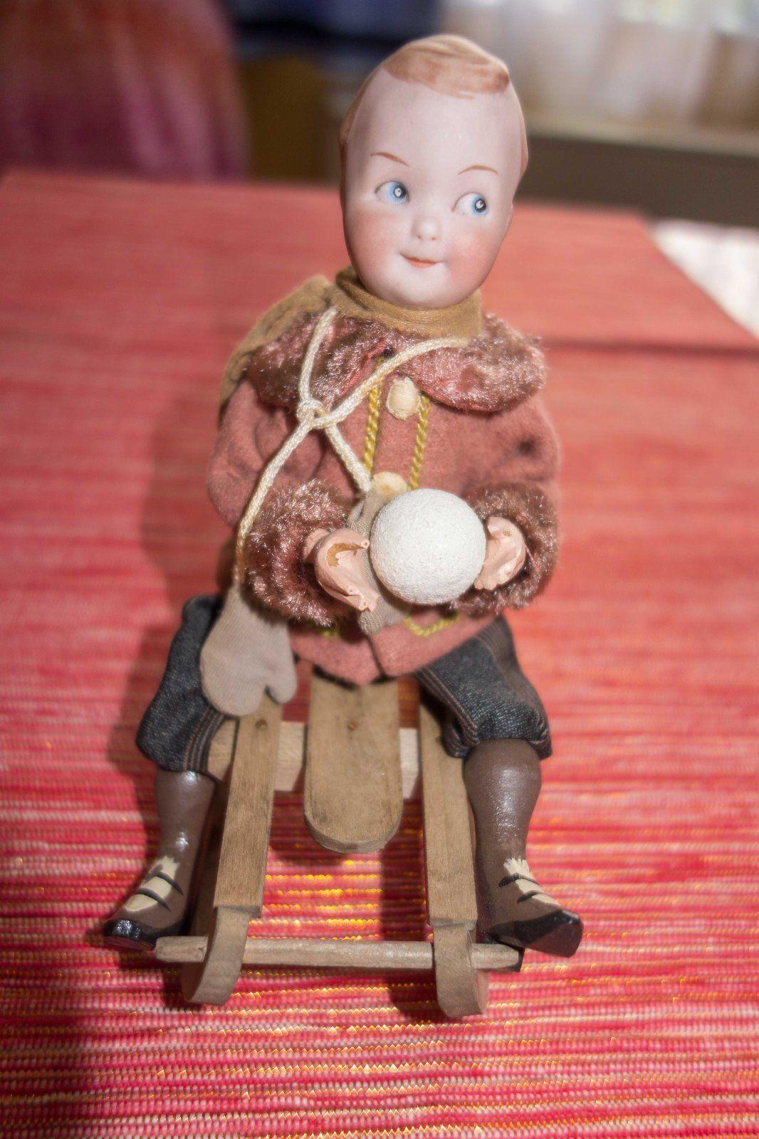 Heubach Original Antik Schlittenfahrer Schneekind Googly Candycontainer Snowbaby ... Gebruder Heubach 9087