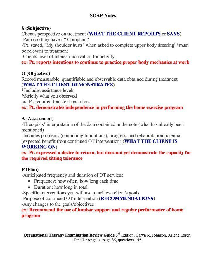 Soap Notes Overview Occupational Therapy Schools Occupational