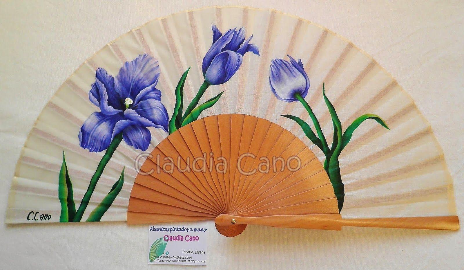 Abanicos pintados a mano por claudia cano tulipanes - Como pintar abanicos ...