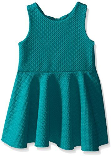 Rare Editions Little Girls Textured Knit Skater Dress, Teal, 6X. Textured knit skater dress with back bow details. Pull over.