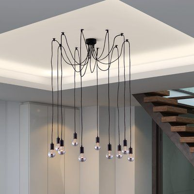 Wrought Studio Wenner 10 Light Cluster Bulb Pendant In 2020 Bulb Ceiling Lights Design