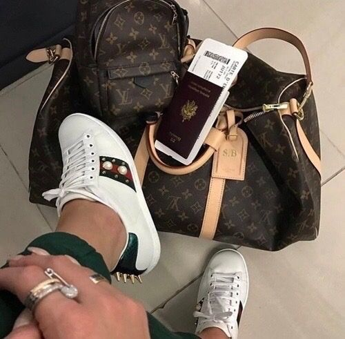 d93aec90cdce travel in style - luggage - airport - Gucci - sneakers - Louis Vuitton -  passport - backpack - keepall - outfit - streetstyle - 2017 - l Etoile  Luxury ...