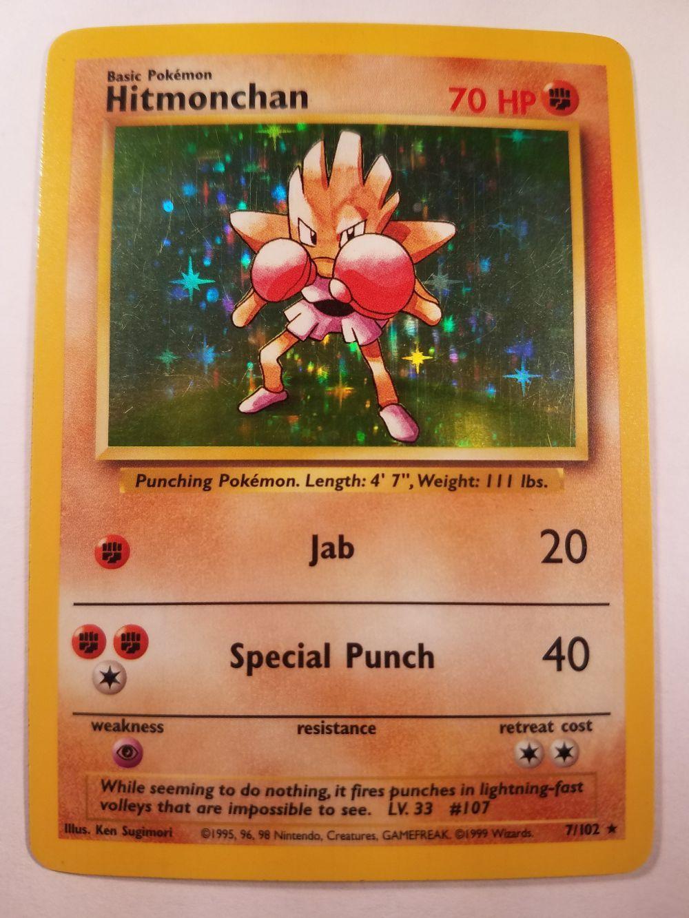 Pokemon Base Set Holofoil Card #7//102 Hitmonchan