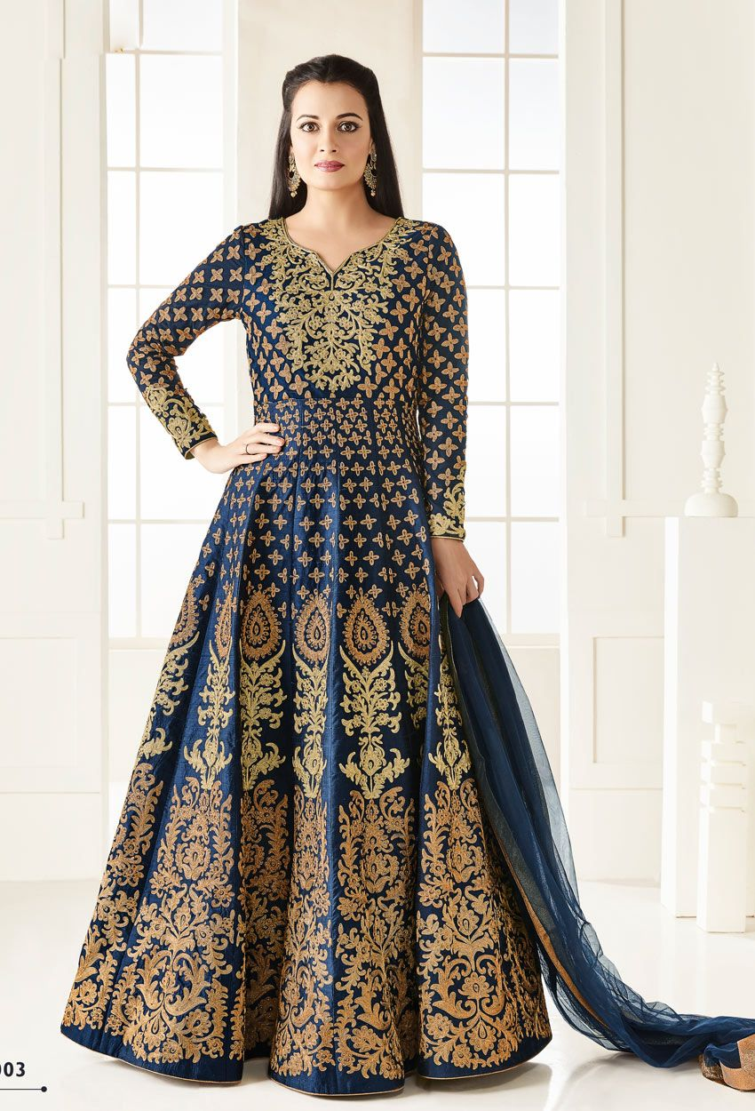 ed5be11564 Dia Mirza In #Blue #Silk #Anarkali #Suit #nikvik #usa #designer #australia  #canada #freeshipping #fashion #dress #suits #sale