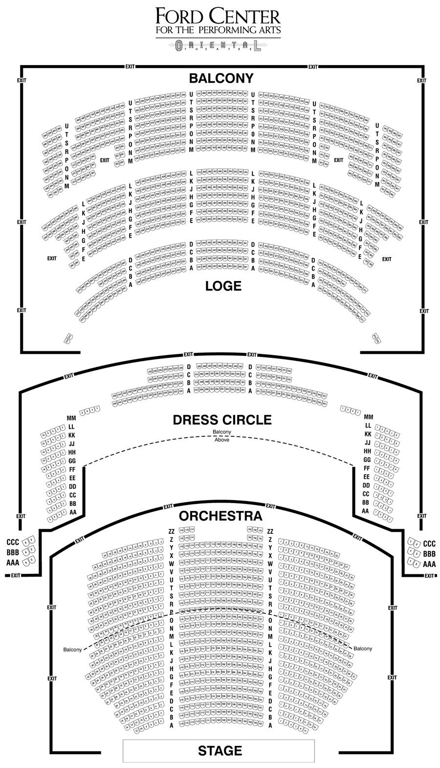 Oriental Theatre Chicago Seating Chart Oriental Theater