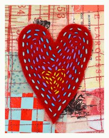 DIY= Eclectic Folkloric Heart (great for Valentine's or to adorn gift wrap) --> Red felt (freehand cut motif of choice), add hand-stitching using an array of brightly colored skeins of embroidery floss.|| #needlefelting #mixedmedia #wrapping
