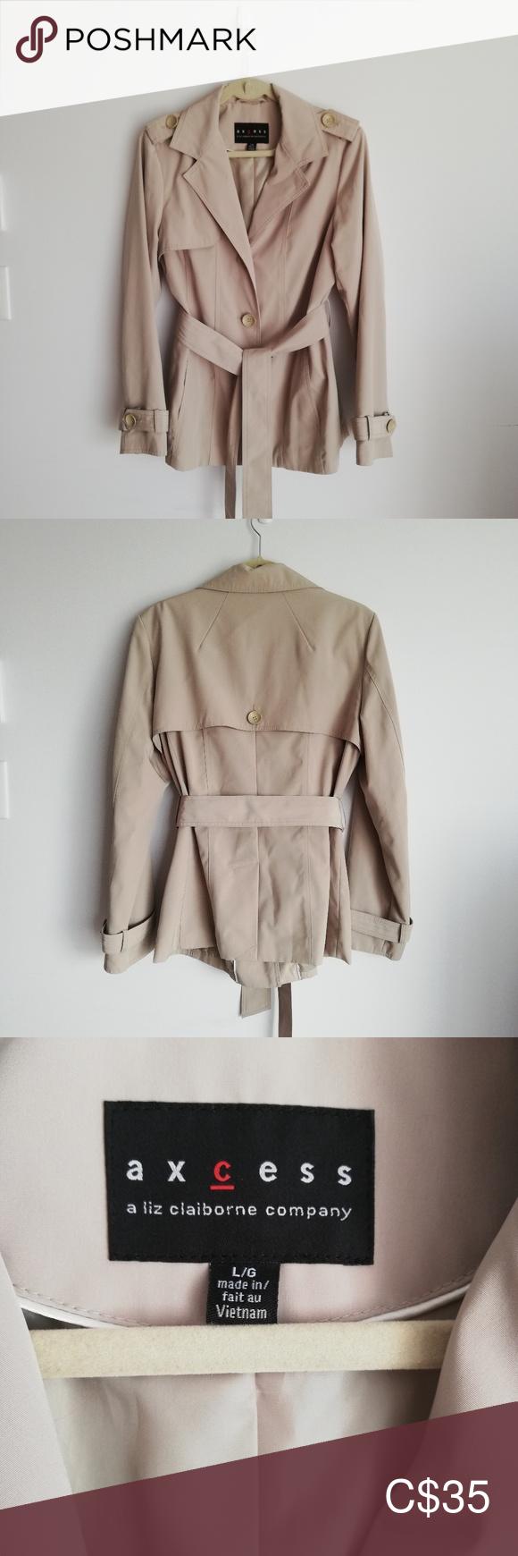Liz Claiborne Axcess Trench Coat Jacket Sz Medium Trench Coat Jackets Liz Claiborne Claiborne [ 1740 x 580 Pixel ]