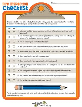 Fire Inspection Checklist  Fire Safety Teaching Ideas And