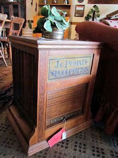 Antique Rotating J. U0026 P. Coats Spool Cabinet