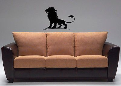 Wall Vinyl Decals Sticker Room Animals Powerful Lion King Emblem KJ2318