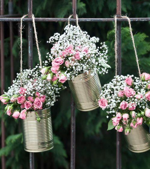 Girlande aus Blechdosen - gold - 5-teilig #bridalshowerdecorations