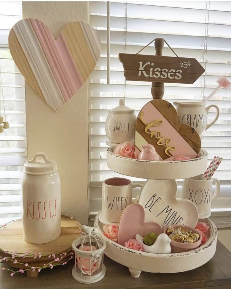 Valentines Decor Using Tiered Trays, Farmhouse Signs and Rae Dunn