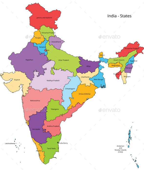 India states and outline map with the latest updated states ...