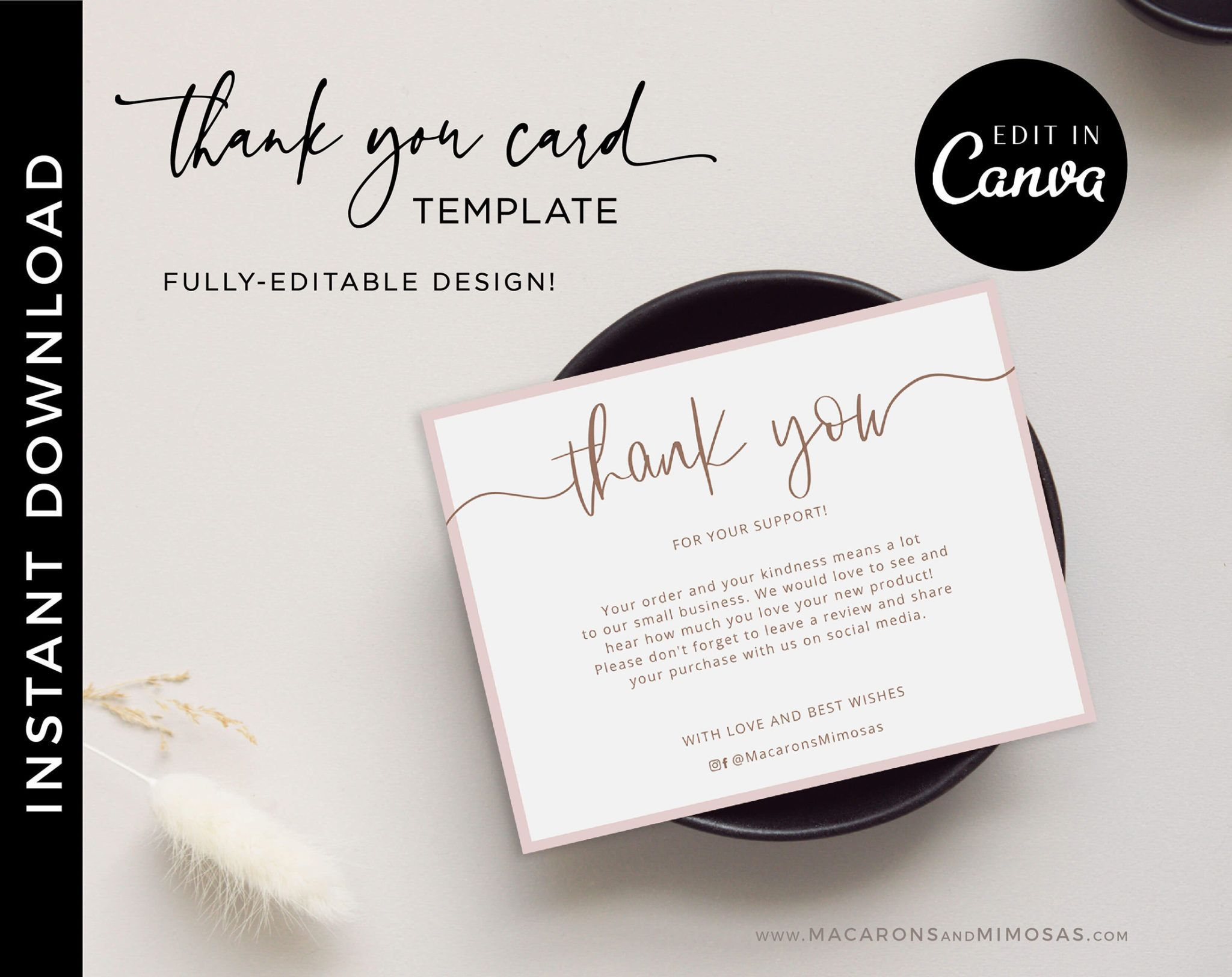 Kaylin Thank You Cards Macarons And Mimosas Business Card Template Design Business Card Design Thank You Cards